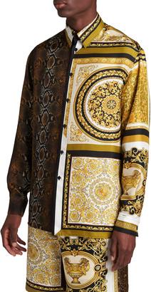 Versace Men's Barocco-Python Patchwork Silk Sport Shirt