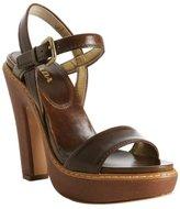 hazelnut glazed leather platform sandals