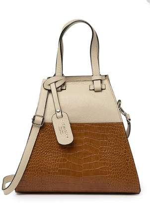 Persaman New York Glenda Croc Embossed Leather Satchel