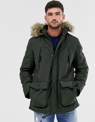 Jack and Jones parka with faux fur hood in khaki