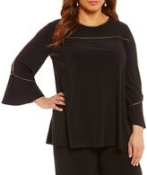 IC Collection Plus Boat Neck Metallic Piping Trim Tunic