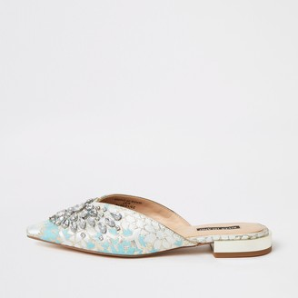 River Island Womens Blue jacquard embellished pointed toe sandals