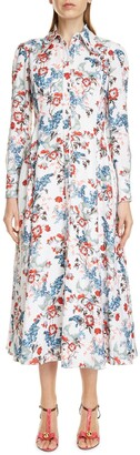 Erdem Josianne Long Sleeve Fit & Flare Maxi Shirtdress