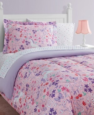 Mytex Unicorn Floral 8-Piece Twin Bed in a Bag Set Bedding