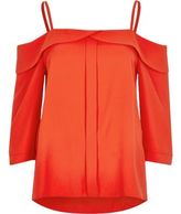 River Island Womens Red placket cold shoulder top