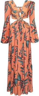 PatBO Foliage Print Cut-Out Dress
