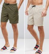 Asos Tall Swim Shorts 2 Pack In Khaki & Stone Mid Length Save