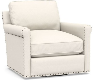 Pottery Barn Tyler Upholstered Roll Arm Swivel Armchair with Nailheads