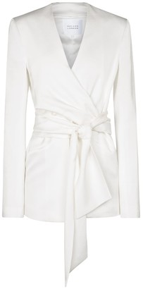 Galvan Greenwich crepe bridal wrap jacket
