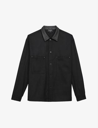 The Kooples Leather-trim wool-blend shirt