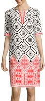 Studio 1 Elbow-Sleeve Diamond Print Shift Dress
