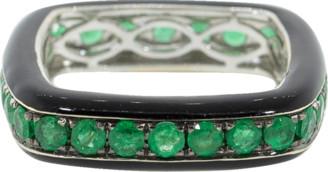 Graziela Emerald and Black Enamel Square Ring