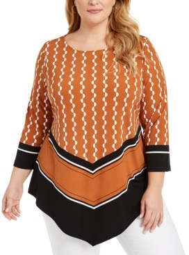 Alfani Plus Size Printed V-Hem Top, Created for Macy's