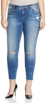 SLINK Jeans Side-Vent Ankle Skinny Jeans in Medium Blue