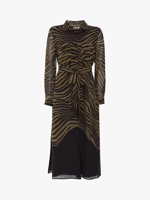 Mint Velvet Rey Animal Midi Shirt Dress, Dark Green