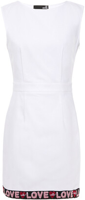 Love Moschino Monogram-trimmed Stretch-cotton Pique Mini Dress