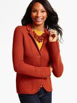 Talbots Merino Wool Basket-Weave Sweater Jacket