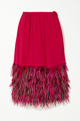 Dries Van Noten Feather-trimmed Crepe Skirt - Fuchsia