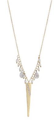 Meira T 14K Yellow Gold Pave Diamond Fringe Dagger Pendant Necklace