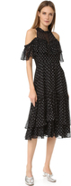 Rebecca Taylor Open Shoulder Metallic Dot Dress
