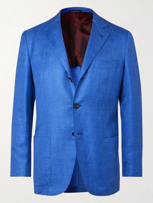 Kiton Azure Slim-fit Unstructured Cashmere, Linen And Silk-blend Blazer - Blue