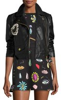 Moschino Leather Moto Jacket w/ Pearly Beaded Heart, Black