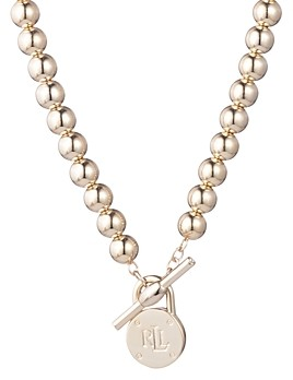 Ralph Lauren Ralph Beaded Logo Pendant Necklace, 17