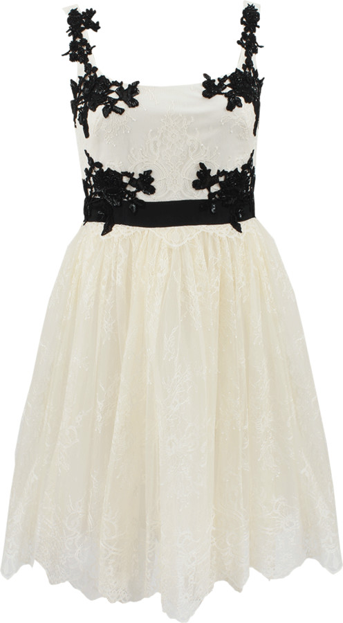Marchesa Lace Cocktail Dress With Tulle Skirt
