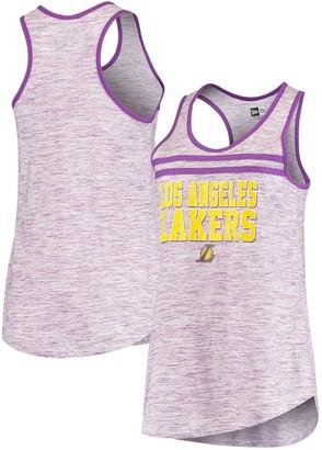 New Era Women's Purple Los Angeles Lakers Team Space Dye Jersey Racerback Tank Top
