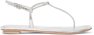Prada Silver Laminated Thong Sandals