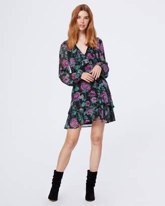 Paige LUCETTE DRESS-BLACK/DARK ORCHID- BLUR ROSE