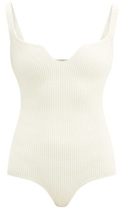 KHAITE Yves Notched-neck Ribbed-knit Bodysuit - Ivory