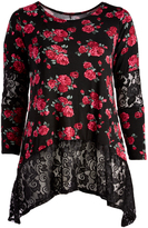 Glam Black & Red Floral Lace-Accent Sidetail Tunic - Plus