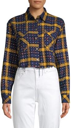 Frankie B. Rhinestone Flannel Plaid Button-Down Shirt