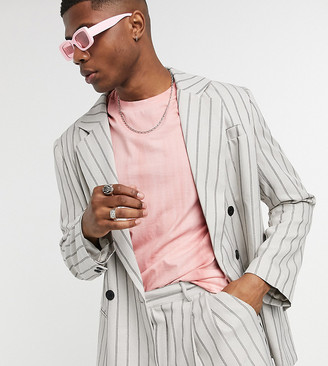 Collusion oversized double breasted blazer in gray pinstripe