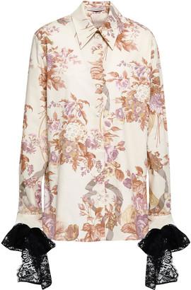 Christopher Kane Lace-trimmed Floral-print Cotton-poplin Shirt