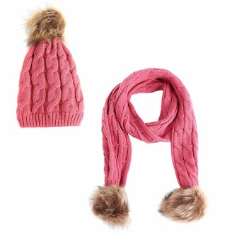 Boomly Baby Winter Hat Scarf Set Knitted Hat Warm Scarf Pompom Hat Neck Warmer Infant Toddler Kids Crochet Hemming Cap Beanie Cap for 1-6 Years Old (Hot Pink)