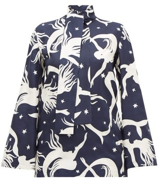 Valentino Pussy-bow Mermaid-print Silk-twill Blouse - Womens - Navy Print