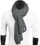 FORBUSITE Men Women Stripe Pure Color Knitted Scarf E5051