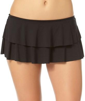Cole of California Women's Super Solids Shirred Tie-Side Skirted Bikini Bottom