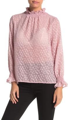 Everleigh Mock Neck Long Sleeve Smocked Sheer Blouse (Regular & Petite)