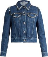 Miu Miu Pearl-embellished cropped denim jacket