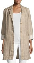 Eileen Fisher Notched-Collar Organic Linen Long Jacket, Natural, Petite