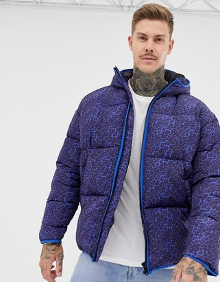 ASOS DESIGN puffer jacket with leopard print in purple