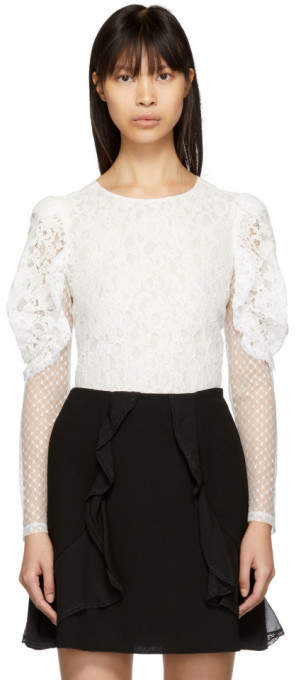 See by Chloe White Multi Lace Blouse