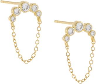 Adina's Jewels Bezel Arc Chain Stud Earrings