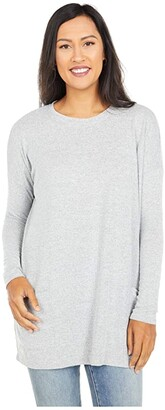 Mod-o-doc Hacci Space Dye Crew Neck Patch Pocket Tunic (Grey) Women's Clothing