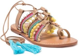 Schutz Patricia Embellished Lace-Up Sandal