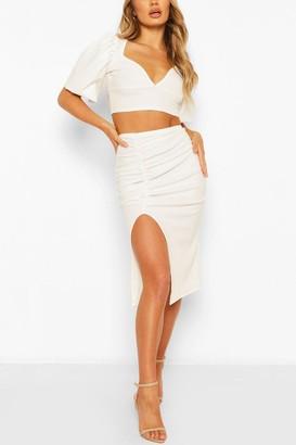 boohoo Volume Sleeve Top & Ruched Midi Skirt Co-ord