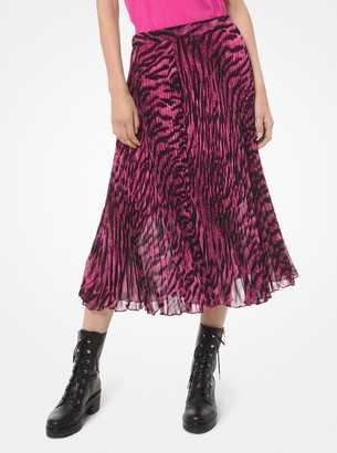 MICHAEL Michael Kors Tiger-Print Georgette Pleated Skirt
